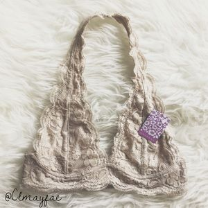 Other - New Light Taupe Lace Halter Bralette